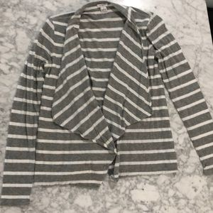 J Crew Gray White Stripe Sweater XS